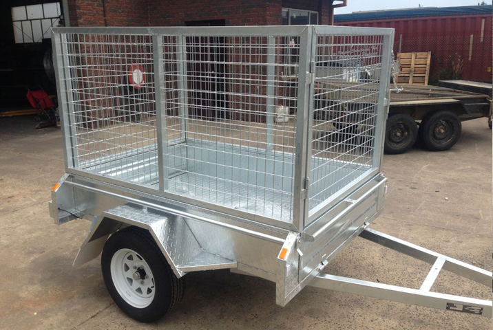6 x 4 Heavy Duty Single Axle Trailer Galvanised Checker Plate 300mm sides