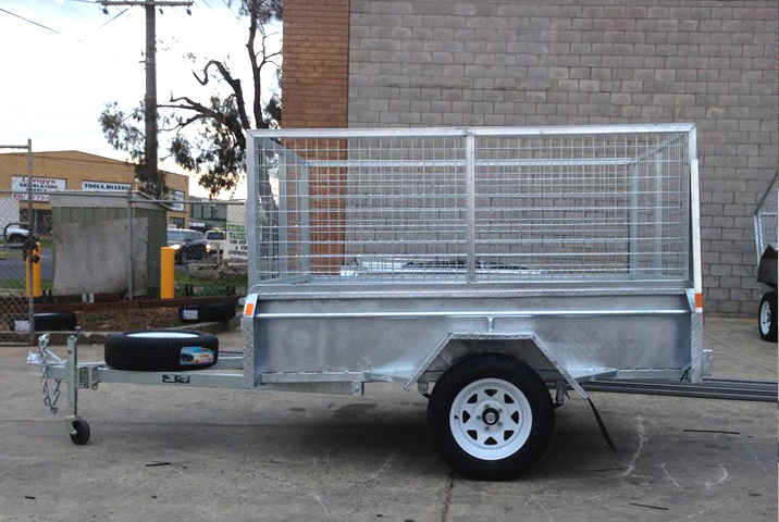 6 x 4 Heavy Duty Single Axle Trailer Galvanised Checker Plate 400mm sides