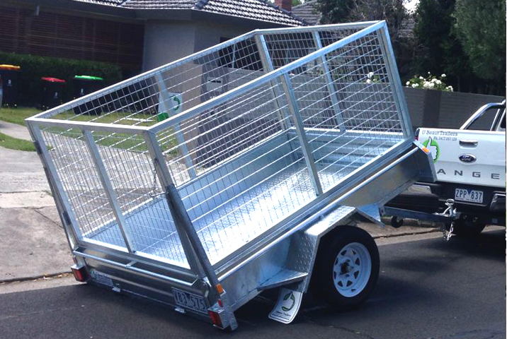 7 x 5 Heavy Duty Single Axle Tipper Trailer Galvanised Checker Plate 300mm sides