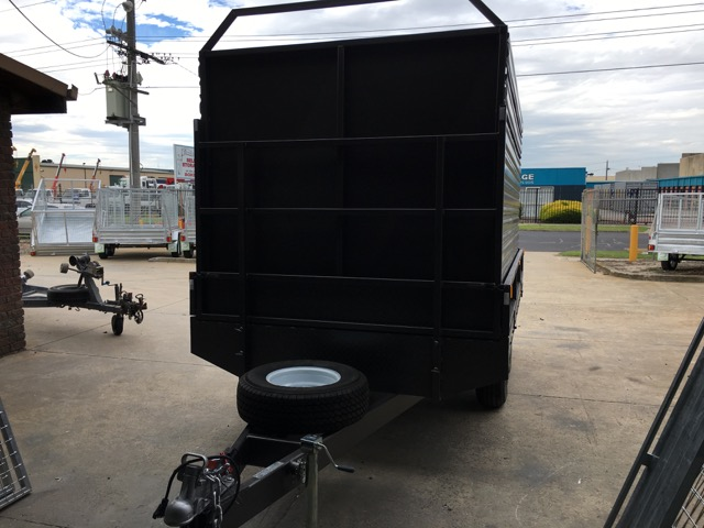 12x8 Flat Top Tandem trailer with Cattle Crate Stock, 3500kg ATM