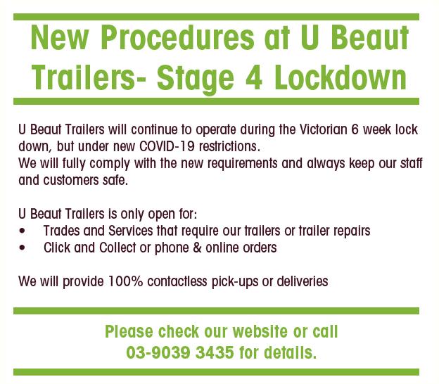U Beaut Trailers COVID 19 Lockdown notice